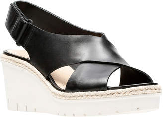 Clarks Palm Glow Leather Wedge Sandal