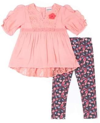 Little Lass Chiffon Lace Detail Blouse & Floral Leggings, 2-Piece Outfit Set (Toddler Girls)