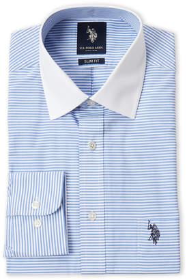 6e0b967a4 U.S. Polo Assn. Blue Stripe Slim Fit Dress Shirt