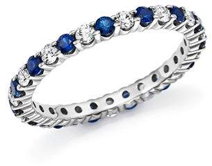 Bloomingdale's Diamond and Blue Sapphire Eternity Band in 14K White Gold - 100% Exclusive