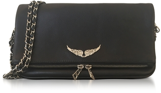 Zadig & Voltaire Black Leather Foldable Rock Clutch $418 thestylecure.com