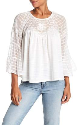 Lucky Brand Floral Sheer Peasant Top