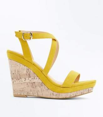 New Look Mustard Suedette Strappy Cork Wedges