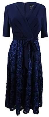 Alex Evenings T-Length Dress with Rosette Skirt and Tie Belt