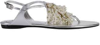 Roger Vivier Flat Sandals Laminated Reef Fringes Sandal With Micro Beads