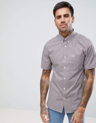 Fred Perry Gingham Short Sleeve Shirt In Red