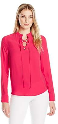 Lark & Ro Women's Long Sleeve Top with Lace-Up Front
