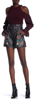 Jealous Tomato Faux Leather Floral Print Waist Belt Shorts