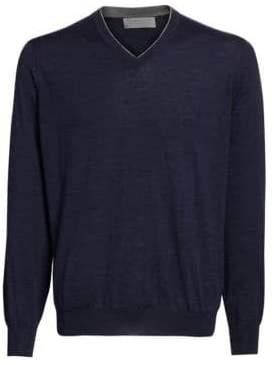 Brunello Cucinelli Wool& Cashmere V-Neck Pullover