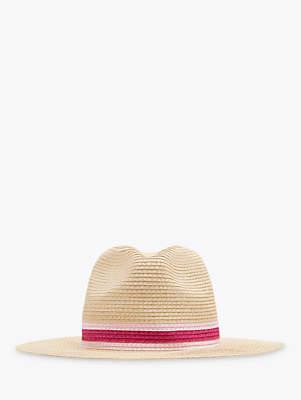 Joules Dora Fedora Hat, Natural/Pink