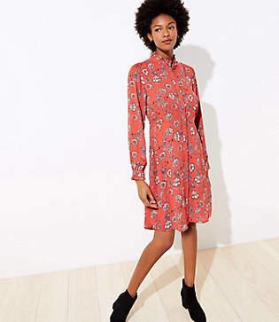 LOFT Floral Ruffle Trim Shirtdress
