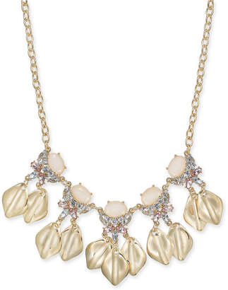 "INC International Concepts I.n.c. Gold-Tone Stone & Crystal Petal Statement Necklace, 17"" + 3"" extender"