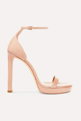 Saint Laurent Hall Patent-leather Platform Sandals - Neutral