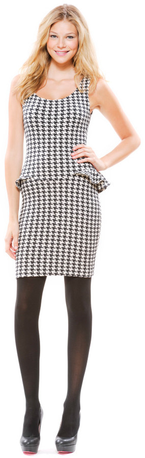 Hounds Tooth Textured Knit Peplum Sheath Dress