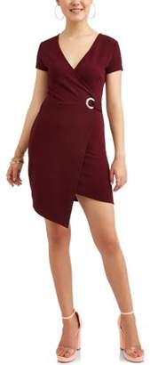 Almost Famous Juniors' Short Sleeve Wrap Dress
