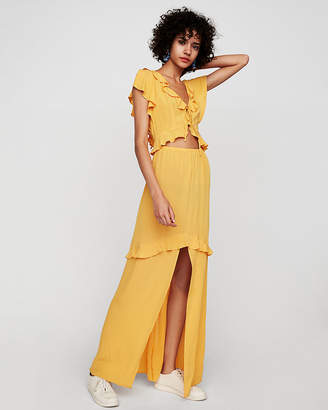 Express Flutter Sleeve Ruffle Front Cut-Out Maxi Dress