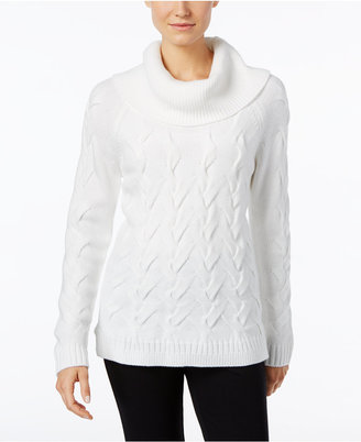Calvin Klein Cable-Knit Cowl-Neck Sweater $89.50 thestylecure.com
