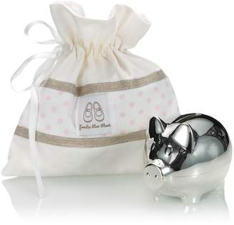 English Trousseau Silver Plated Piggy Bank (Pink)