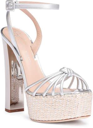 Giuseppe Zanotti Silver metallic leather platform sandals