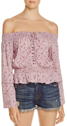 En Créme Floral Off-The-Shoulder Lace-Up Top - 100% Exclusive $48 thestylecure.com