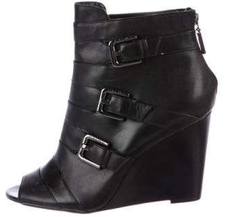 Calvin Klein Leather Peep-Toe Booties