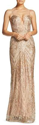 Dress the Population Mara Plunging Embellished Gown