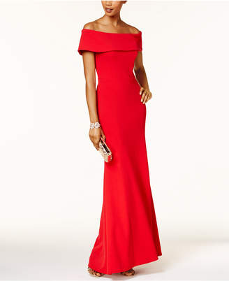 Betsy & Adam Ruffled-Back Off-The-Shoulder Gown