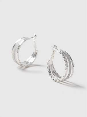 At Evans Silver Glitter Hoop Earrings