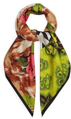 Richard Quinn - Floral Print Silk Twill Scarf - Womens - Multi