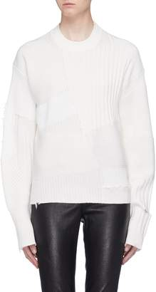 Helmut Lang 'Military Grunge' distressed wool-cashmere patchwork sweater