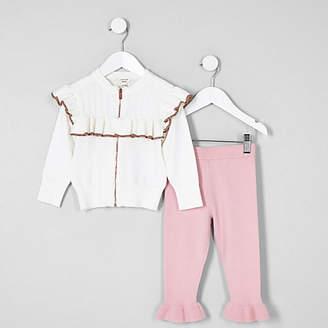 River Island Mini girls Cream frill zip cardigan outfit