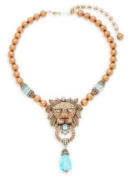 Heidi Daus Beaded Crystal Lion Pendant Necklace