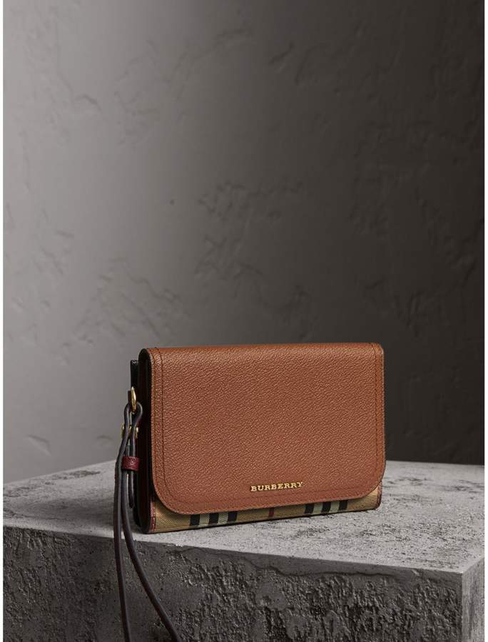 Burberry Leather and Haymarket Check Wristlet Wallet