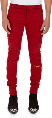 Balmain Distressed Skinny Solid Jeans