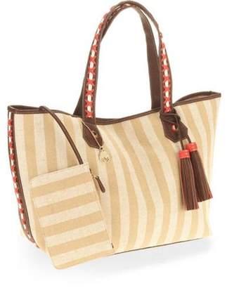 Big Buddha Women's Stripe Canvas Tote Handbag