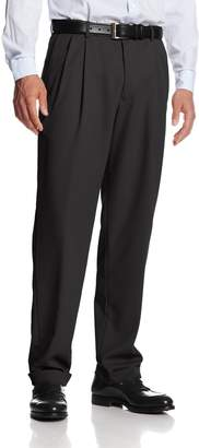 Haggar Men's Mynx Gabardine Hidden Expandable Waist Pleated Dress Pant
