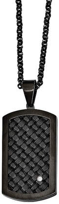 FINE JEWELRY Mens Cubic Zirconia Stainless Steel & Black Leather Dog Tag Pendant