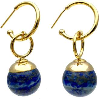 Lapis Farra Round Lazuli Simple Earrings
