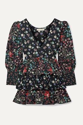 LoveShackFancy Paris Ruffled Floral-print Cotton-voile Mini Dress - Black