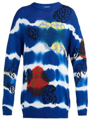 MSGM Floral Jacquard Tie Dye Cotton Sweater - Womens - Blue Navy