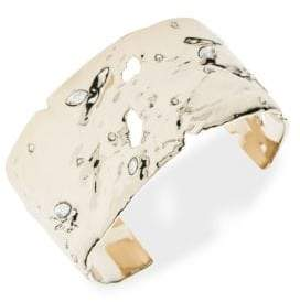Alexis Bittar 10K Gold-Plated Textured Crystal Accent Cuff