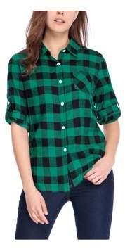 Unique Bargains Women's Roll Up Sleeves Buttoned Pocket Plaids Shirt Blouse Tops