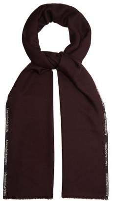 Alexander McQueen Logo Embroidered Cashmere And Silk Blend Scarf - Mens - Burgundy