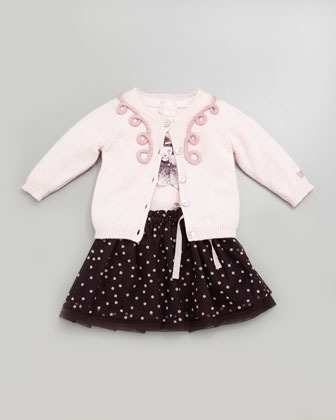 Lili Gaufrette Doll-Print Long-Sleeve Shirt, Pale Rose, 3-18 Months
