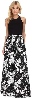 Aidan Mattox Stretch Halter Top with Printed Ball Skirt Women's Dress