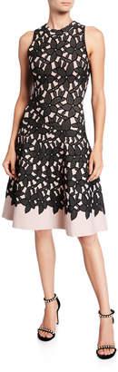Milly Sleeveless Floral Mesh Jacquard Flow Dress