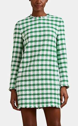 Thom Browne Women's Gingham Cotton-Blend Tweed Shift Minidress - Green