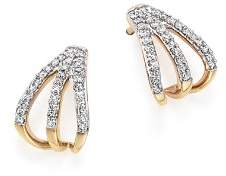 Adina 14K Yellow Gold Pavé Diamond Triple Huggie Hoop Earrings