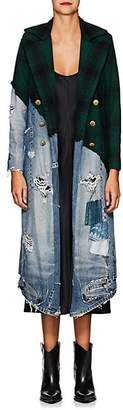 Greg Lauren Women's Denim & Plaid Wool Long Coat - Green