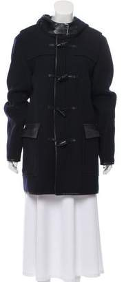The Kooples Wool Leather-Trimmed Coat